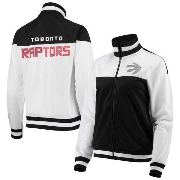 カールバンクス レディース ジャケット&ブルゾン アウター Toronto Raptors G-III 4Her by Carl Banks Women's Tip-Off Rhinestone Tricot Full-Zip Track Jacket White/Black