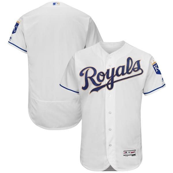 マジェスティック メンズ シャツ トップス Kansas City Royals Majestic 2017 Home Flex Base Authentic Team Jersey White