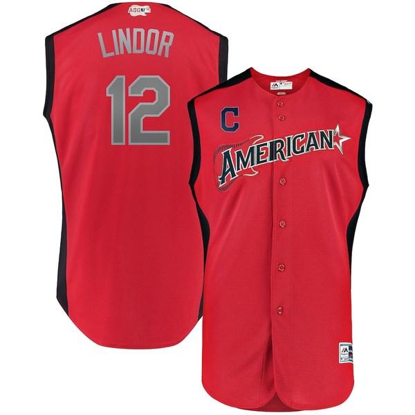 マジェスティック メンズ シャツ トップス Francisco Lindor American League Majestic 2019 MLB All-Star Game Workout Player Jersey Red