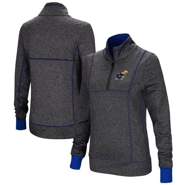 コロシアム レディース ジャケット&ブルゾン アウター Kansas Jayhawks Colosseum Women's Herringbone Print Quarter-Zip Pullover Jacket Charcoal