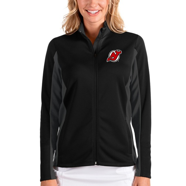 アンティグア レディース ジャケット&ブルゾン アウター New Jersey Devils Antigua Women's Passage Full-Zip Jacket Black/Charcoal