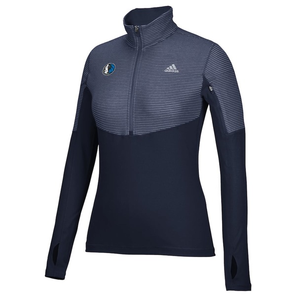 アディダス レディース ジャケット&ブルゾン アウター Dallas Mavericks adidas Women's Team Logo Lightweight Performance Half-Zip Jacket Navy