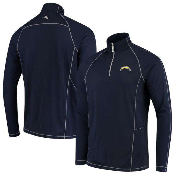 トッミーバハマ メンズ シャツ トップス Los Angeles Chargers Tommy Bahama Goal Keeper Raglan Quarter-Zip Pullover Sweater Navy