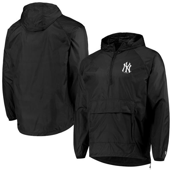 ニューエラ メンズ ジャケット&ブルゾン アウター New York Yankees New Era Anorak Packable 1/4-Zip Hoodie Jacket Black