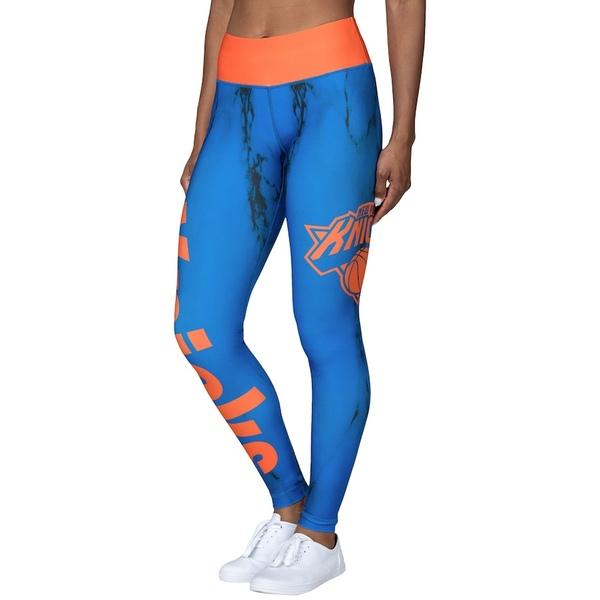 フォコ レディース カジュアルパンツ ボトムス New York Knicks Women's Marble Wordmark Leggings Blue