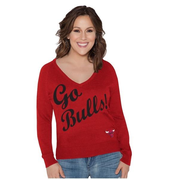 アリッサミラノ レディース シャツ トップス Chicago Bulls Touch by Alyssa Milano Women's Plus Size MVP Pullover Sweater Red