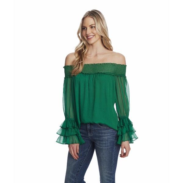 セセ レディース シャツ トップス Off-the-Shoulder Blouse Lush Green