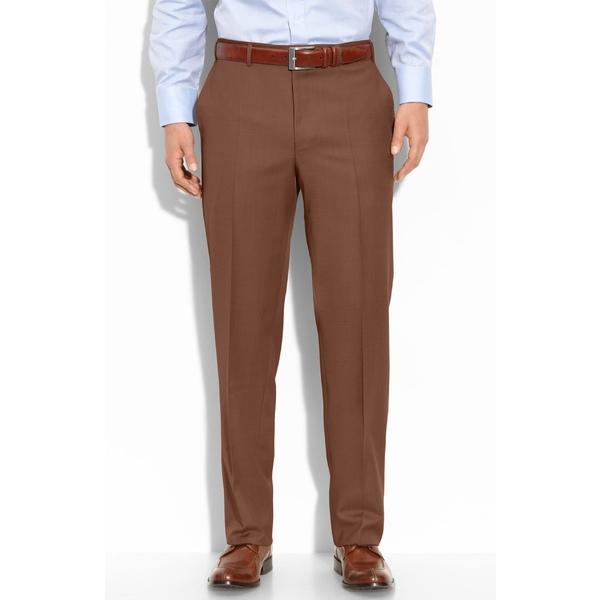 カナーリ メンズ カジュアルパンツ ボトムス Canali Flat Front Classic Fit Wool Dress Pants Light Brown