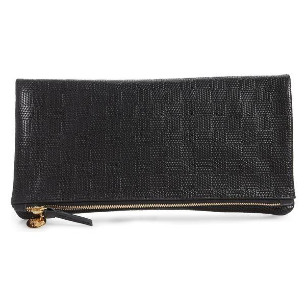 クレアブイ レディース クラッチバッグ バッグ Clare V. Embossed Leather Foldover Clutch Black Honolulu