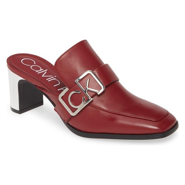 カルバンクライン レディース サンダル シューズ Calvin Klein Dacy Logo Buckle Loafer Mule (Women) Barn Red Leather