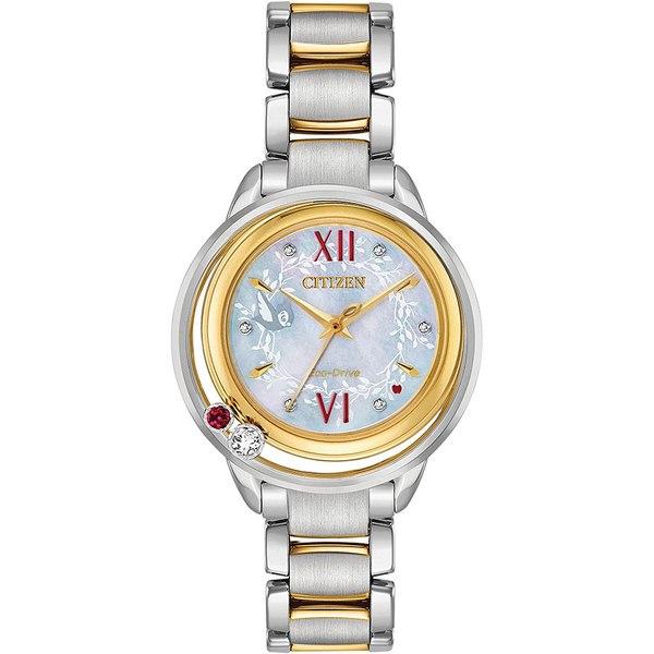 シチズン レディース アクセサリー 腕時計 Two-tone 全商品無料サイズ交換 Citizen Eco-Drive Women's White Watch Bracelet 専門店 33mm Diamond-Accent 毎日激安特売で 営業中です Snow Two-Tone Stainless Steel