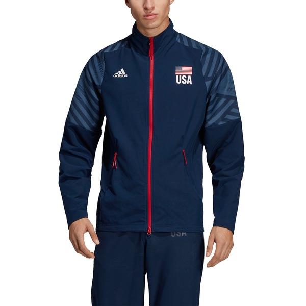 アディダス メンズ ジャケット&ブルゾン アウター Adidas Men's USA Volleyball Warm-Up Jacket ColgNvy/Wh/MnlBl/PwrRd