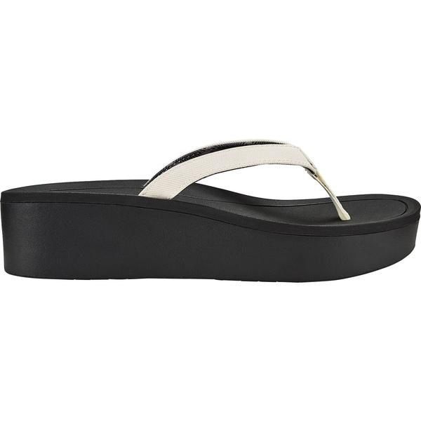 オルカイ レディース サンダル シューズ OluKai Women's Pi'o Lua Wedged Sandals White/Black