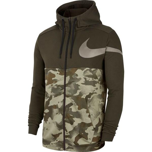 ナイキ メンズ パーカー・スウェットシャツ アウター Nike Men's Dri-FIT Full-Zip Camo Training Hoodie Sequoia