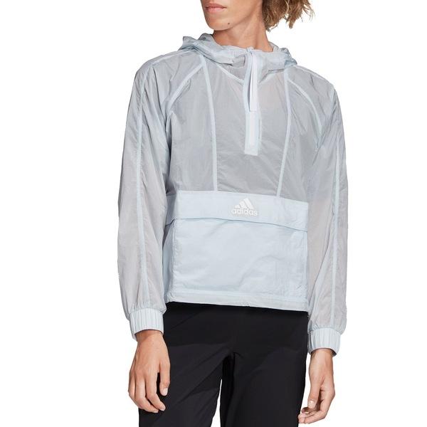 アディダス レディース ジャケット&ブルゾン アウター adidas Women's Wind Ready Anorak 1/2 Zip Cropped Pullover SkyTint