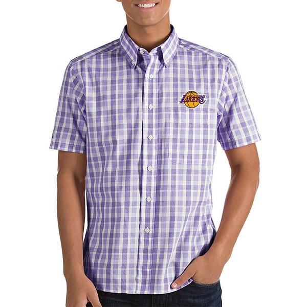 アンティグア メンズ シャツ トップス NBA Crew Short-Sleeve Woven Shirt Los Angeles Lakers Dark Purple