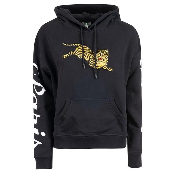 ケンゾー レディース パーカー・スウェットシャツ アウター Kenzo Embroidered Tiger Hoodie Noir