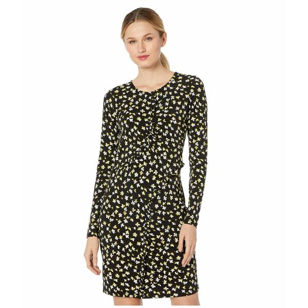 マイケルコース レディース ワンピース トップス Tossed Lilies Ruffle Dress Black/Bright Dandelion