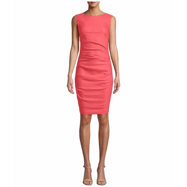 ニコルミラー レディース ワンピース トップス Lauren Stretch Linen Dress Mediterranean Coral