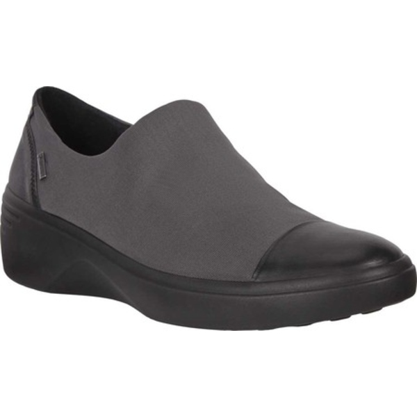 エコー レディース オックスフォード シューズ Soft 7 Wedge GORE-TEX Slip On Black/Magnet Cow Leather/Textile