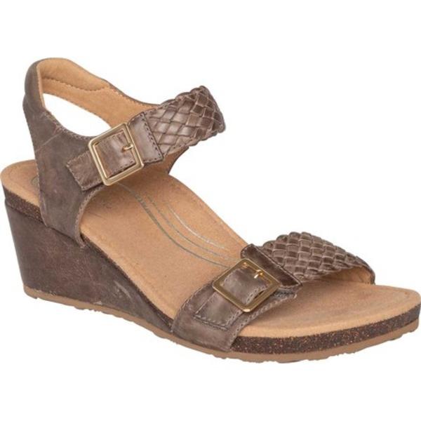 エイトレックス レディース サンダル シューズ Grace Woven Quarter Strap Wedge Sandal Taupe Leather