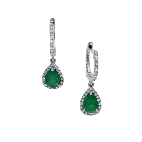 エフィー レディース ピアス&イヤリング アクセサリー Brasilica 14K White Gold, Natural Emerald & Diamond Drop Earrings Emerald