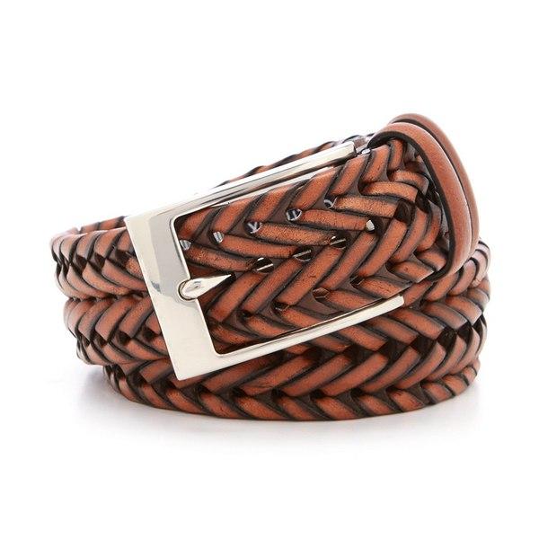 クレミュ メンズ ベルト アクセサリー Beefy Braid Leather Belt Brown