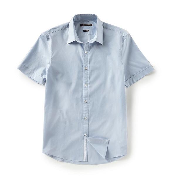 マイケルコース メンズ シャツ トップス Slim-Fit Solid Stretch Short-Sleeve Woven Shirt Ice Blue