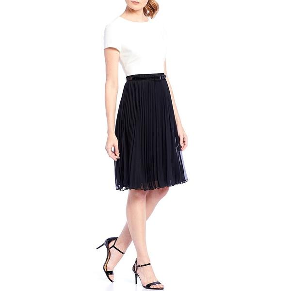 アドリアナ パペル レディース ワンピース トップス Crepe Bodice Chiffon Pleated Stretch Dress Ivory/Black