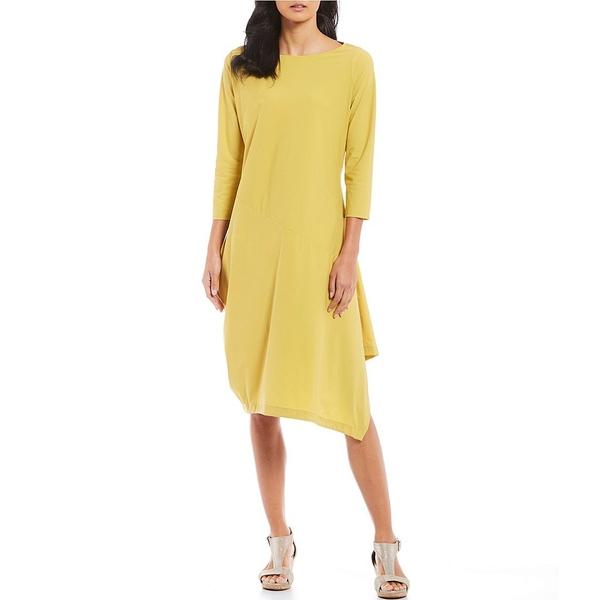 【お気にいる】 アイシーコレクション Dress レディース ワンピース トップス Hem Asymmetrical Hem 3 Asymmetrical/4 Sleeve Stretch Shift Midi Dress Mustard, イチウソン:c9fe5a87 --- saaisrischools.com