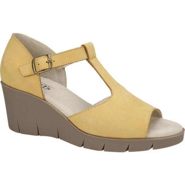 クリフバイホワイトマウンテン レディース サンダル シューズ Parisia Wedge T Strap Sandal Yellow Nubuck Leather