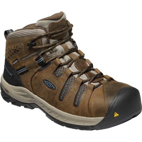 キーン メンズ ブーツ&レインブーツ シューズ Flint II Mid Waterproof Steel Toe Work Boot Cascade Brown/Orion Blue Leather/Mesh