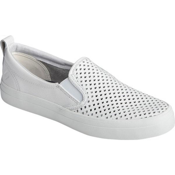 トップサイダー レディース スリッポン・ローファー シューズ Crest Scalloped Perforated Slip-On Sneaker White Leather