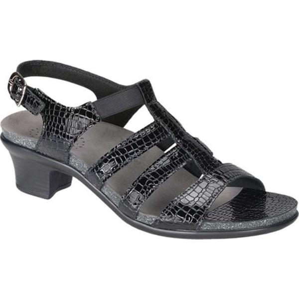 エスエーエス レディース サンダル シューズ Allegro Heeled Strappy Sandal Black Croc Leather