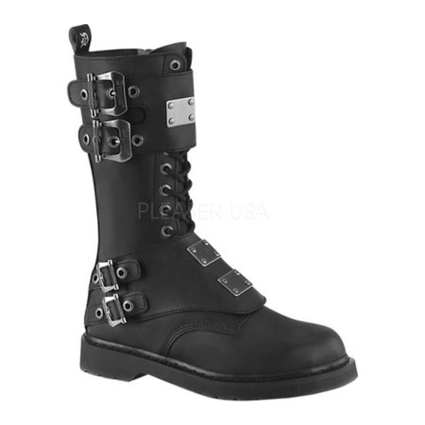 デモニア メンズ ブーツ&レインブーツ シューズ Bolt 345 Mid-Calf Combat Boot Black Vegan Leather