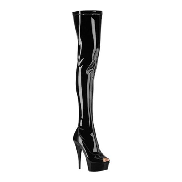 プリーザー レディース ブーツ&レインブーツ シューズ Delight 3011 Thigh High Boot Black Stretch Patent/Black