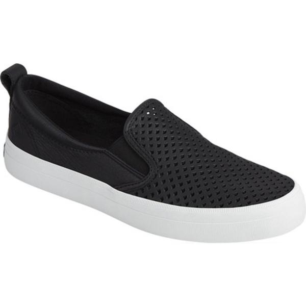 トップサイダー レディース スリッポン・ローファー シューズ Crest Scalloped Perforated Slip-On Sneaker Black Leather