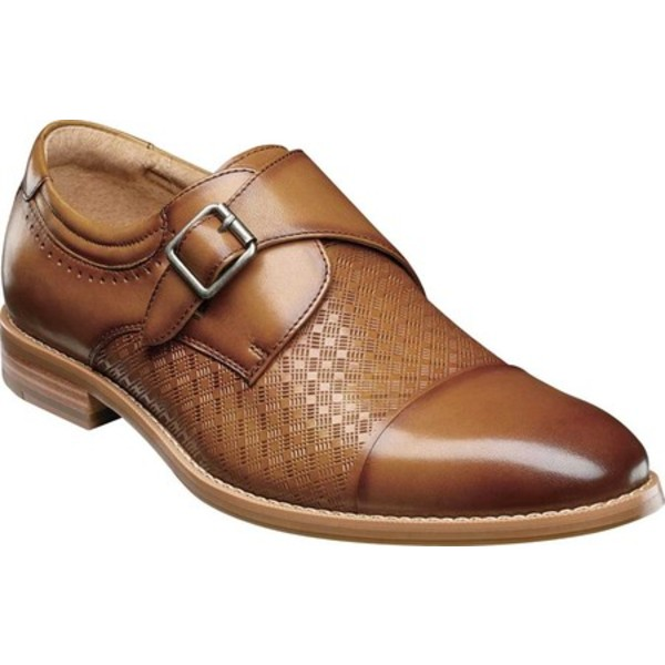 ステイシーアダムス メンズ ドレスシューズ シューズ Fenwick Cap Toe Monkstrap Tan Smooth Leather