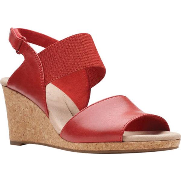 クラークス レディース サンダル シューズ Lafley Lily Wedge Sandal Red Leather/Textile