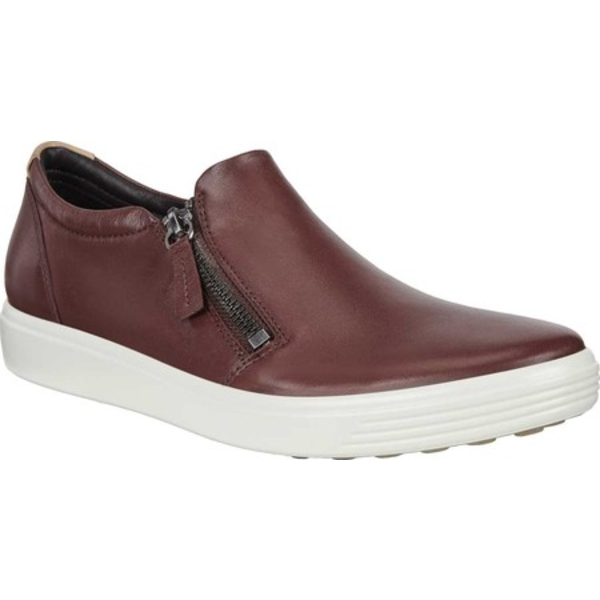 エコー レディース スニーカー シューズ Soft 7 Out Side Zip Sneaker Chocolat Smooth Leather/Nubuck