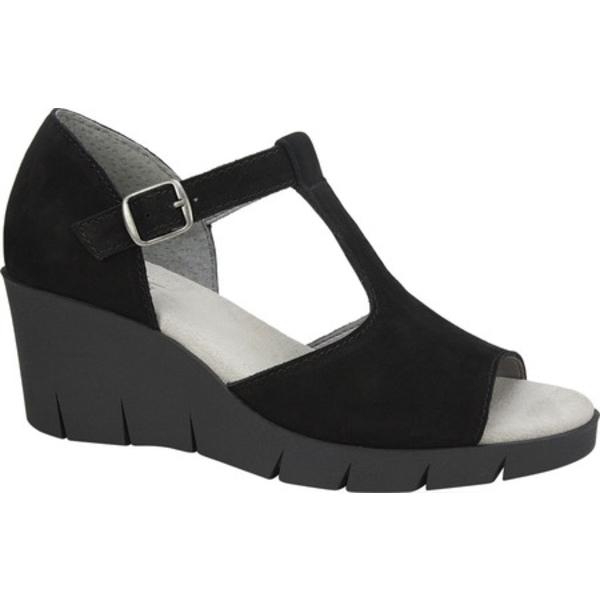 クリフバイホワイトマウンテン レディース サンダル シューズ Parisia Wedge T Strap Sandal Black Nubuck Leather