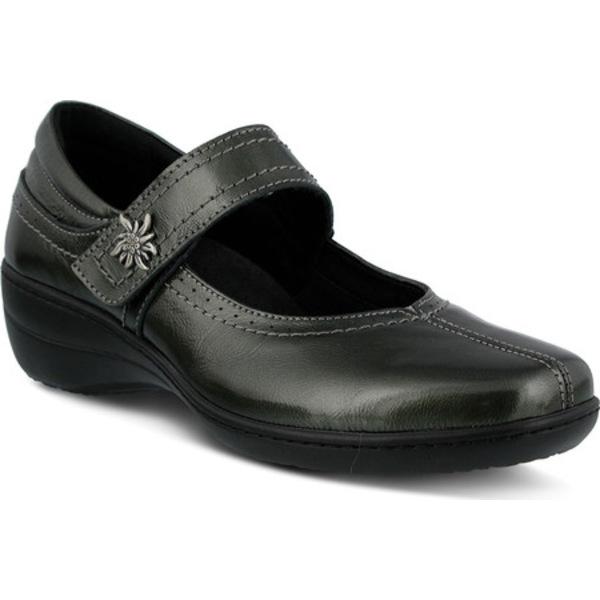スプリングステップ レディース スニーカー シューズ Amparo Mary Jane Pewter Smooth Leather