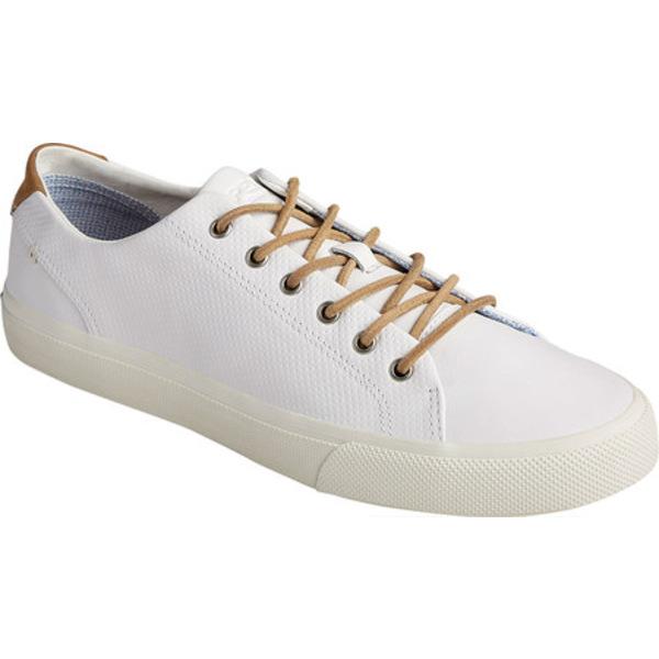トップサイダー メンズ ブーツ&レインブーツ シューズ Striper PlushWave LTT Sneaker White Full Grain Leather