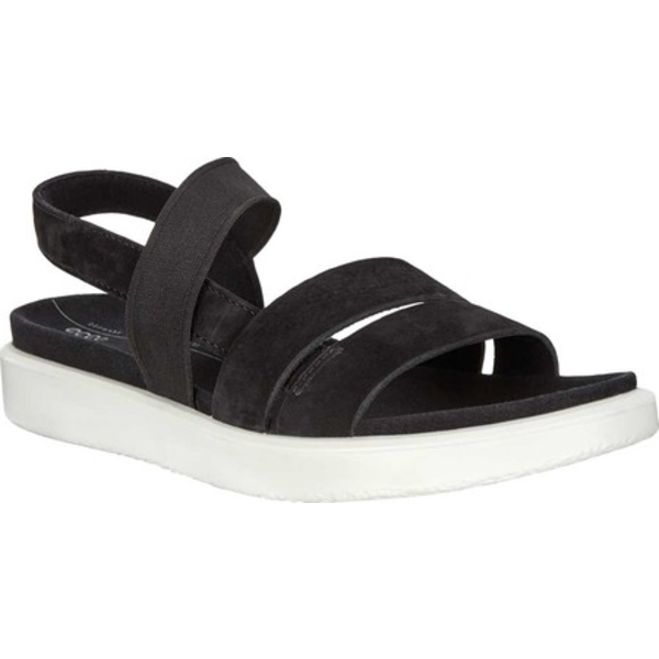 エコー レディース サンダル シューズ Yuma Active Strappy Sandal Black Nubuck