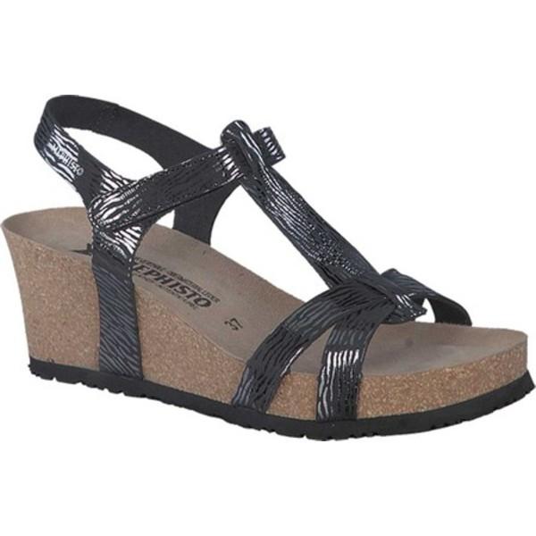 メフィスト レディース サンダル シューズ Liviane T Strap Wedge Sandal Black Zebra Patent Leather