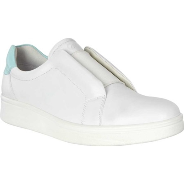 エコー レディース スニーカー シューズ Soft 4 Slip On Sneaker White/Eggshell Blue Full Grain Leather