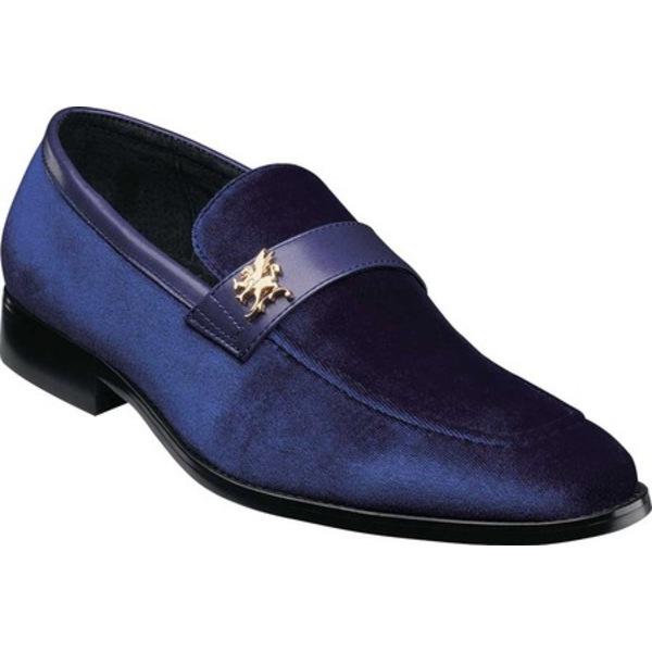 ステイシーアダムス メンズ ドレスシューズ シューズ Bellino Loafer Royal Velour/Leather