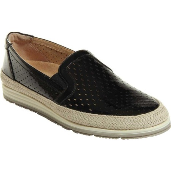ベネリ レディース サンダル シューズ Qabic Perforated Espadrille Slip On Black Nappa Leather