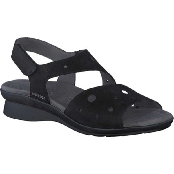 メフィスト レディース サンダル シューズ Phiby Perforated Slingback Sandal Black Bucksoft Nubuck