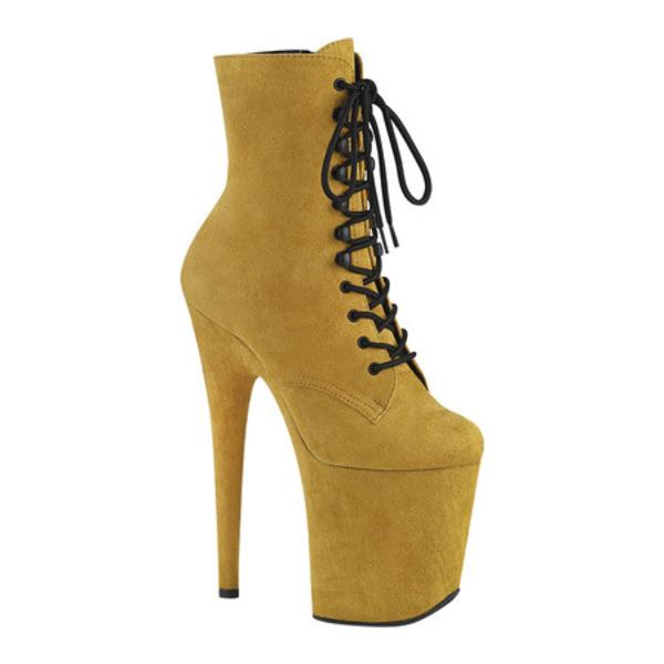 プリーザー レディース ブーツ&レインブーツ シューズ Flamingo 1020FS Heeled Ankle Bootie Mustard Faux Suede/Mustard Faux Suede